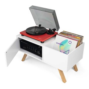 Gloriuos Turntable lowboard White - Shelf furniture stand for gramophone and vinyls
